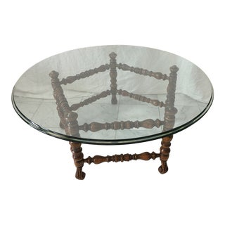 Pentagon Shaped English Glass Top Coffee Table For Sale