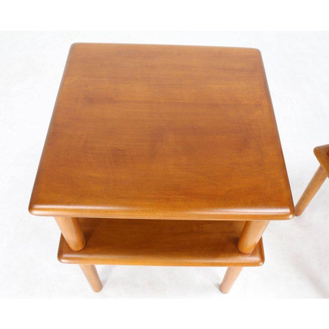 Mid 20th Century Pair of Square Solid Maple Two-Tier End Side Tables For Sale - Image 5 of 7