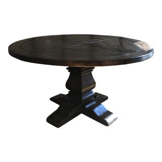 Rustic Restoration Hardware Salvaged Wood Trestle Dining Table For Sale