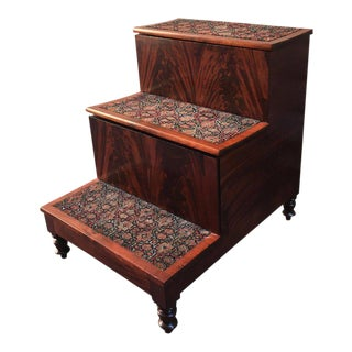 19th Century American Southern Flame Mahogany Bed Steps For Sale