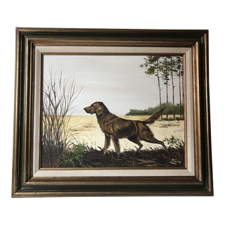 Vintage Sporting Dog Oil Painting For Sale