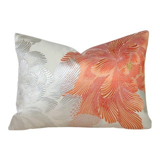 Coral Peony Vintage Japanese Silk Obi Lumbar Pillow Cover For Sale