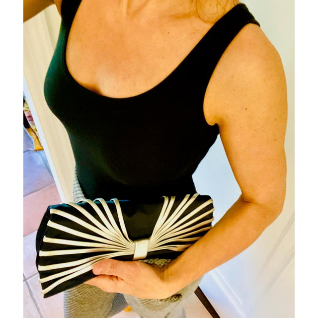 Metal Rodo Navy Silk Clutch With Metallic Silver Leather Detail For Sale - Image 7 of 10