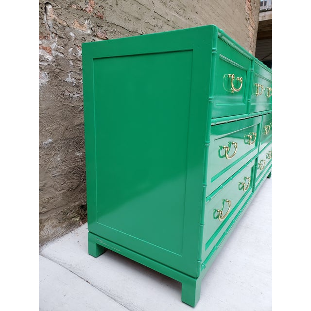 1970s Regency Bamboo Green Lacquer Dresser For Sale - Image 10 of 13