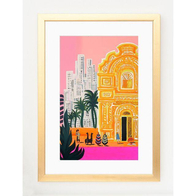 Bright South America Framed Art Print With White Mat & Gold Frame - Image 2 of 4