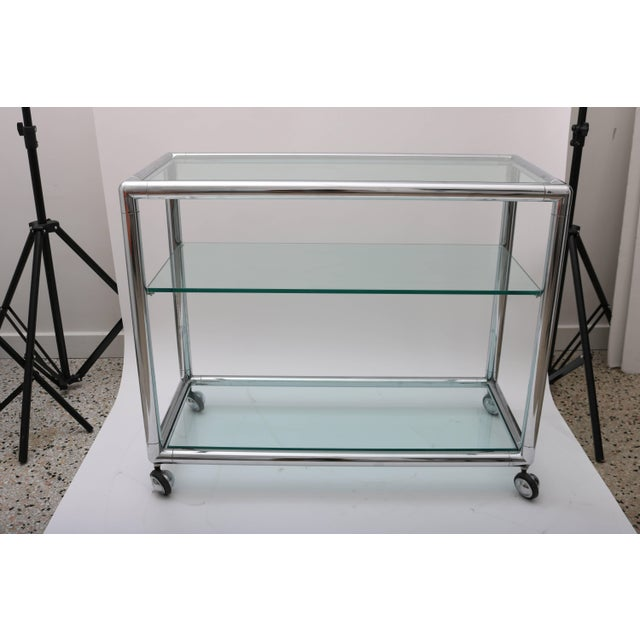 Transparent Polished Chrome & Glass Bar Cart by Pace For Sale - Image 8 of 10