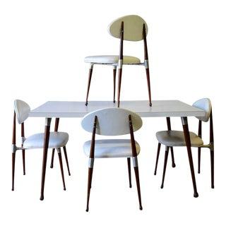 Mid Century Modern Walnut + Aluminum Dining Set For Sale