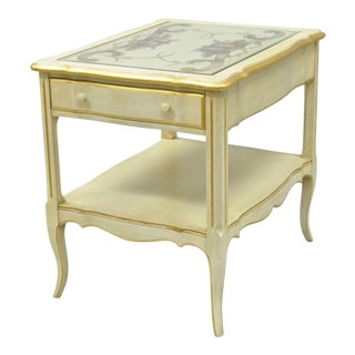 Vintage French Country Provincial Style Floral Painted Cream 1 Drawer End Table For Sale
