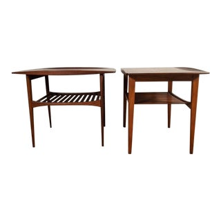 Danish Modern Solid Teak End Tables by Edvard & Tova Kindt-Larsen for Frank and Daverskin - a Pair For Sale