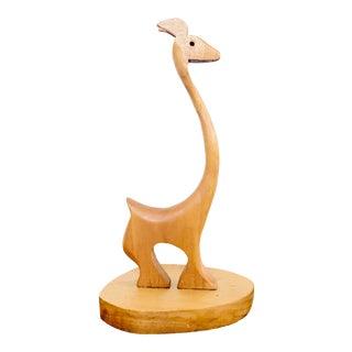 Vintage Mid Century Modern Folk Art Carved Teak Wood Animal Figurine For Sale