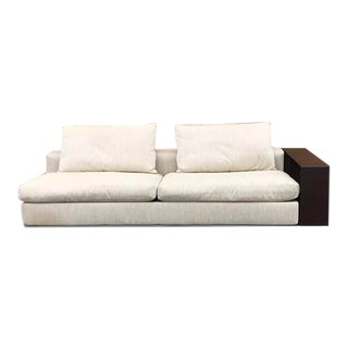 Flexform Groundpiece Sofa With Attached Leather Wrapped Bookshelf For Sale