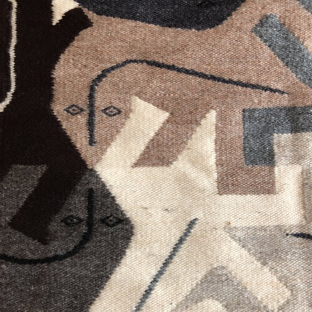 1980s Modernist Reptile Handwoven Tapestry For Sale - Image 4 of 11