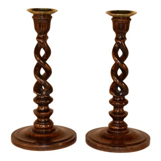 Pair of 19th C Open Twist Candlesticks For Sale