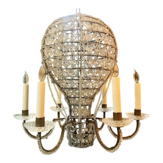 "Estate Crystal Beaded Balloon Chandelier Called ""Montgofier"" For Sale"