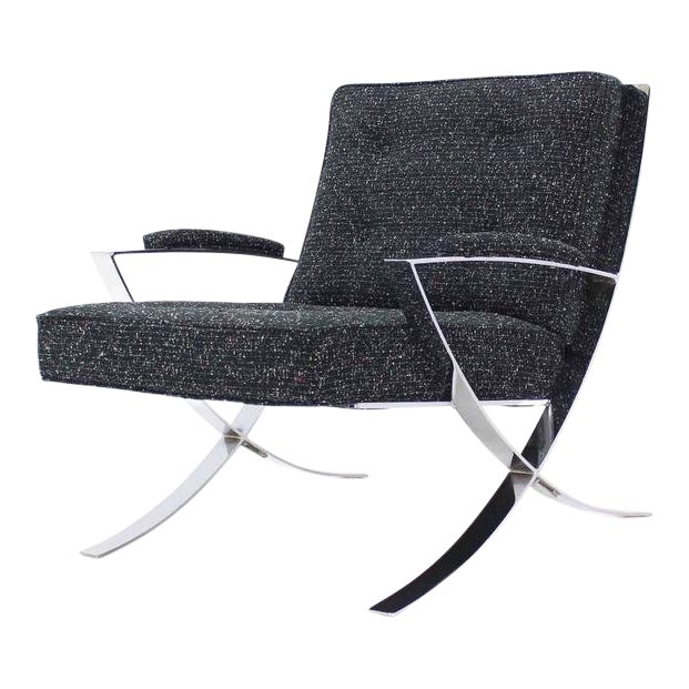 Scissor X-Base Chrome Lounge Chair with New Upholstery For Sale