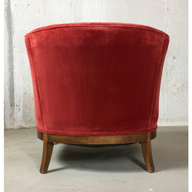 Mid 20th Century Vintage Mid-Century Red Velvet Tub Chair For Sale - Image 5 of 11