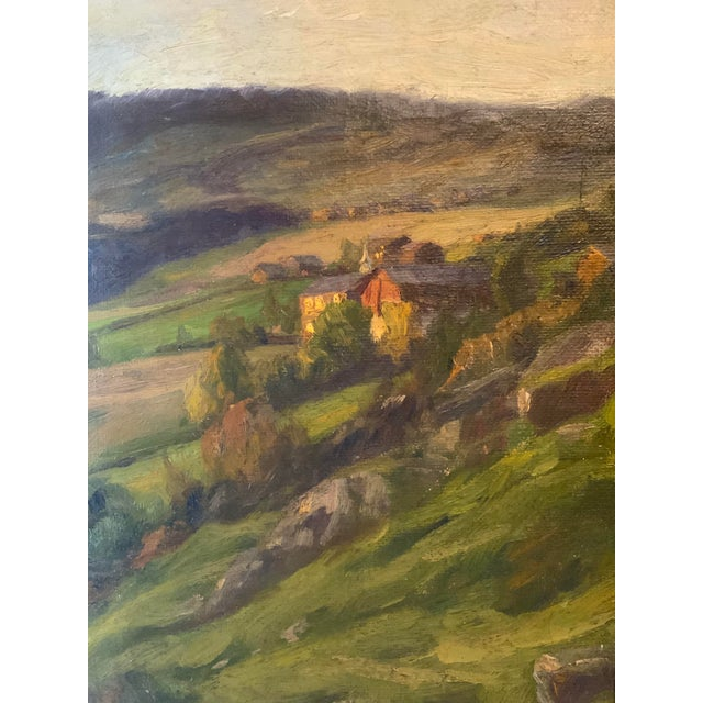 This Fredrik Borgen (1852-1907) plein air landscape depicts a serene image of a remote farm house and barn on rolling...