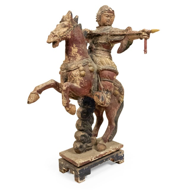 Wood Sculpture of a Mongolian Warrior on Horse For Sale - Image 7 of 8