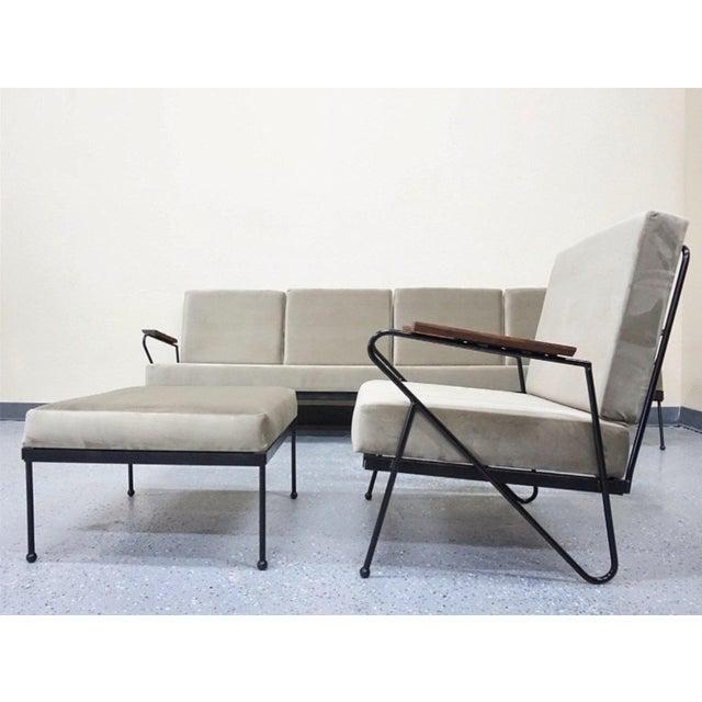 Modern Gray Velvet Sofa, Lounge & Ottoman - Set of 3 - Image 3 of 7