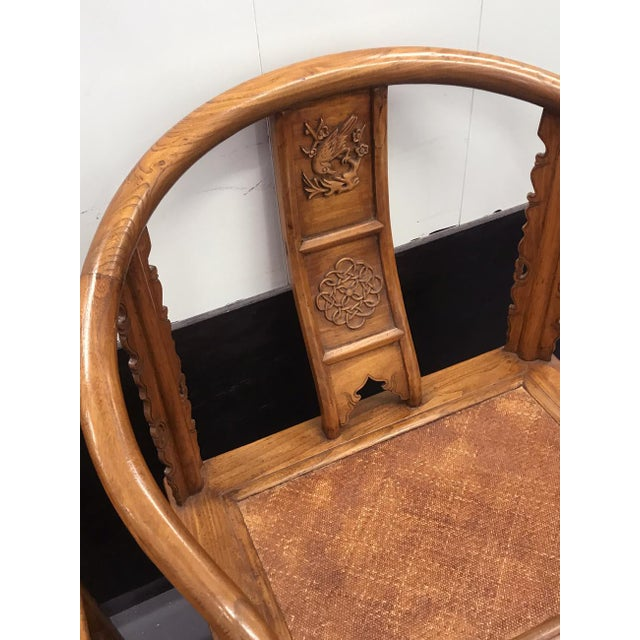 Asian Style 19th Century Large Chinese Ming-Style Horseshoe Back Chairs- A Pair For Sale - Image 4 of 13