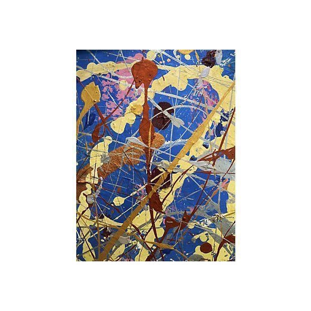Mid-Century Modern Vintage Pollock-Inspired Abstract Painting For Sale - Image 3 of 4