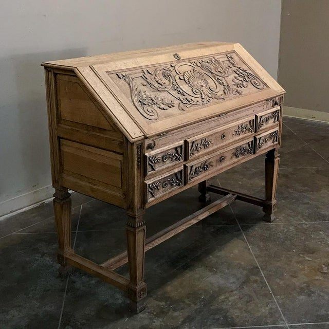 French 19th Century French Louis XIV Stripped Oak Secretary For Sale - Image 3 of 11