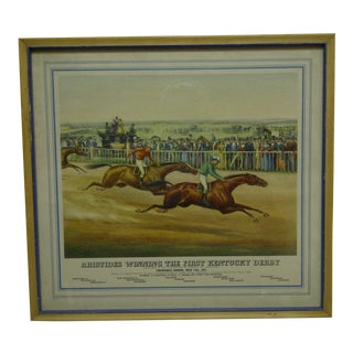 "1975 Framed ""Aristides Winning the First Kentucky Derby"" Churchill Downs Print For Sale"
