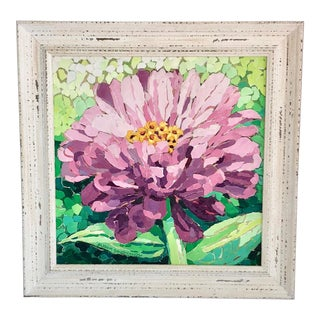 Framed Purple Zinnia Painting Collage For Sale