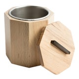 Image of White Oak Wood Ice Bucket with Black Patina Steel Hardware and Stainless Insert For Sale