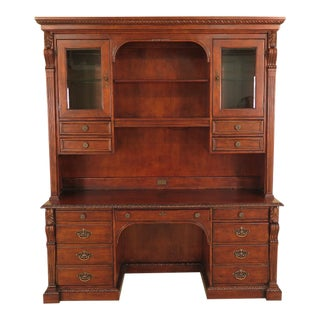 1990s Vintage Hekman Office Cabinet / Executive Desk For Sale