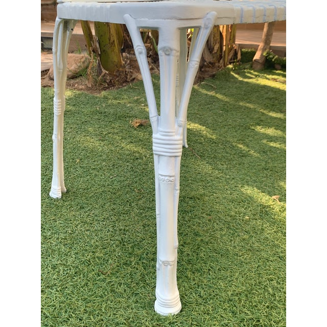 20th Renaissance Revival Style Cast Iron White Garden Chairs in Faux Bamboo - a Pair For Sale - Image 10 of 11