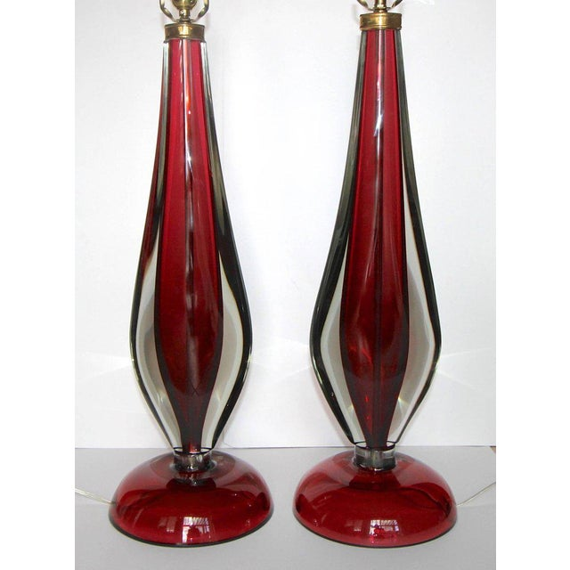 Large Flavio Poli Seguso Sommerso Murano Red Glass Table Lamps - a Pair For Sale In Palm Springs - Image 6 of 13