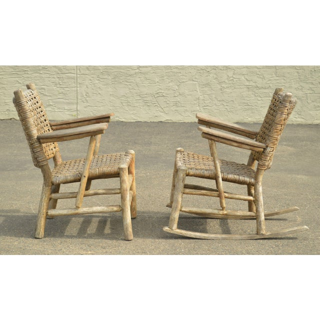 Old Hickory Antique Rustic Armchair & Rocker For Sale In Philadelphia - Image 6 of 12