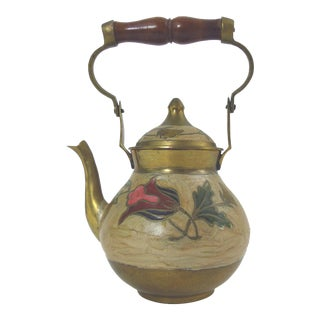 Vintage Brass Cloisonne Tea Pot With a Lid