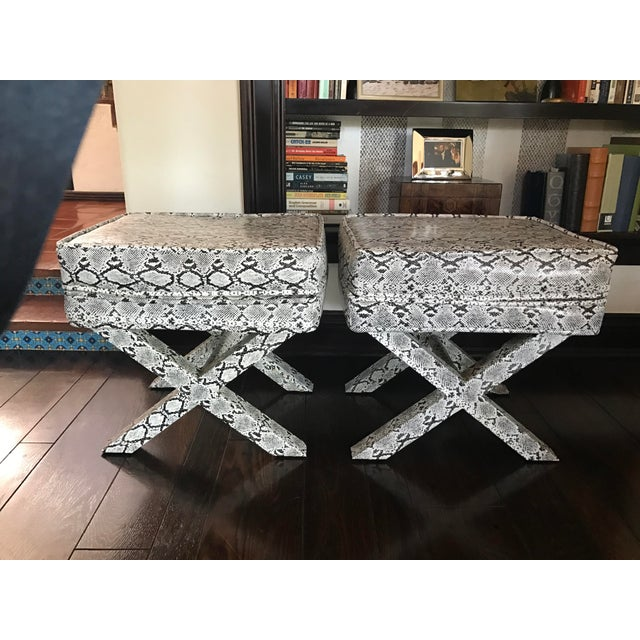X-Frame Snake Skin Stools - A Pair - Image 5 of 7
