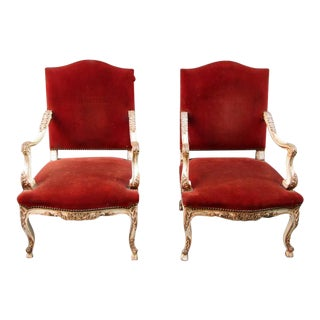 Pair of 19th French Louis XV Velvet Upholstered Armchairs For Sale