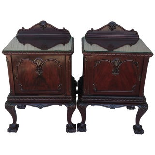 George III Period Walnut Nightstands or Bedsides With Glass Top and Door For Sale