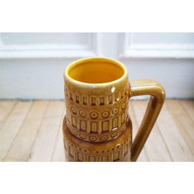 1960s Mid-Century West German Scheurich Keramik Inka Mustard Ceramic Pitcher For Sale In New York - Image 6 of 10