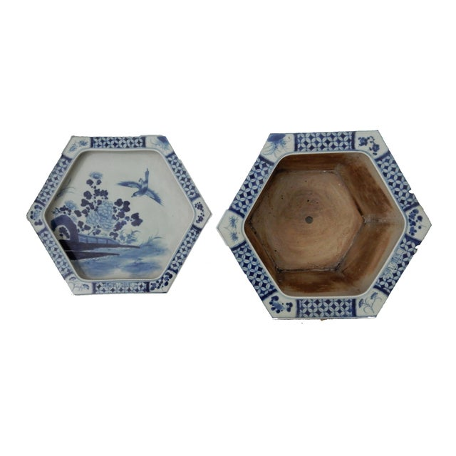 Blue & White Hexagonal Jardiniere - Image 6 of 8