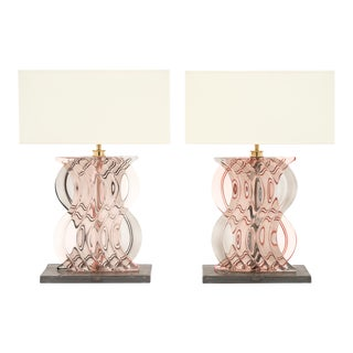 Murano Glass Ridged Pink and Gray Lamps For Sale