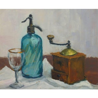 Raymond Bailly, French Oil Still Life - Seltzer & Coffee For Sale
