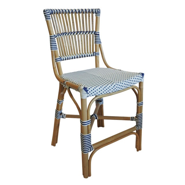 Coastal Madrid Counter Chair, Navy Blue, Rattan For Sale - Image 3 of 4