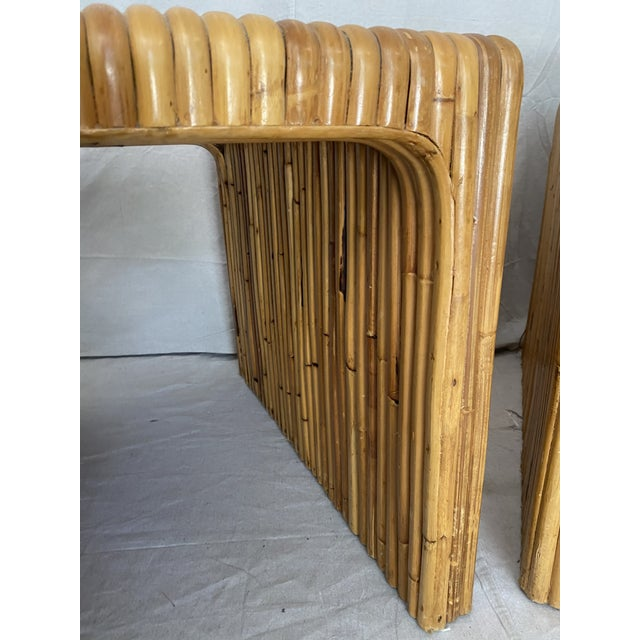 Vintage Split Reed Rattan Waterfall End Tables- a Pair For Sale - Image 11 of 13