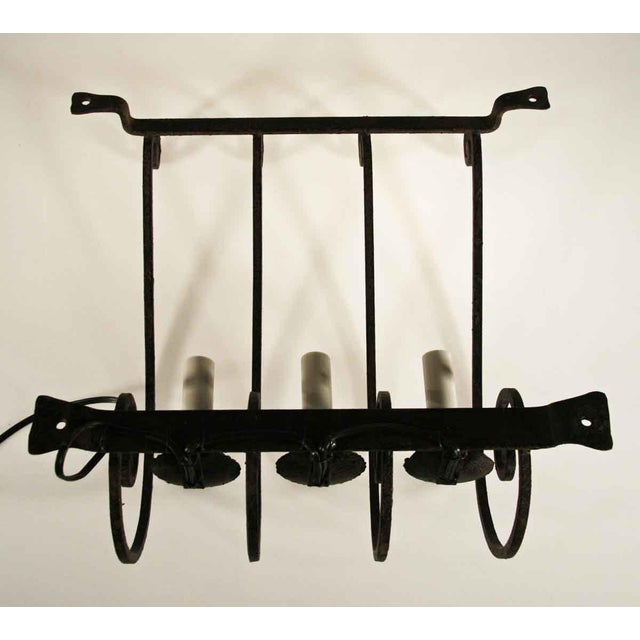 French arts crafts style three light wrought iron wall sconces a english traditional french arts crafts style three light wrought iron wall sconces a pair aloadofball Image collections