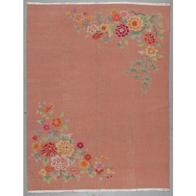 Orange Chinese Art Deco Rug For Sale - Image 4 of 6