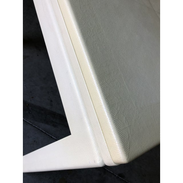 Minimalist White Reptile Leather Wrapped Square Flip Top Dining Table For Sale In Miami - Image 6 of 13
