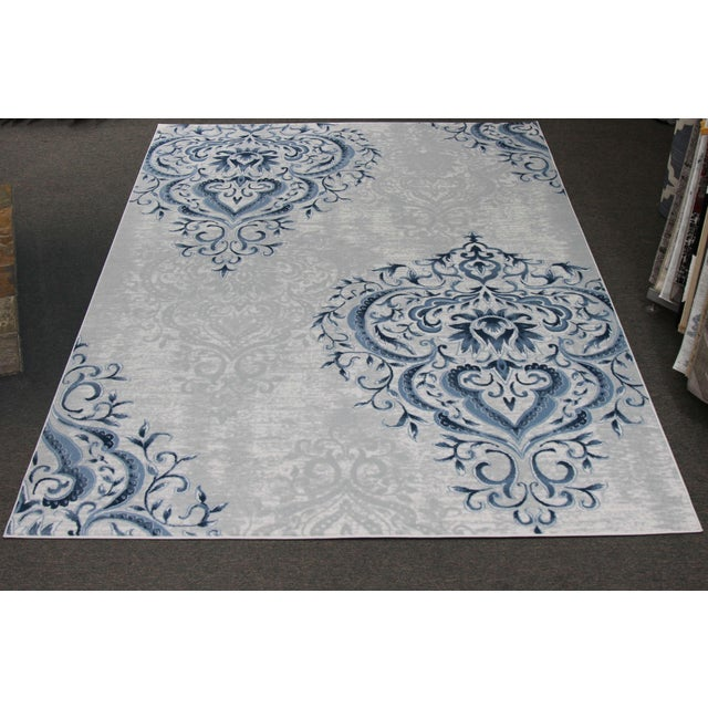 Blue Ivory Damask Rug - 5' x 8' - Image 2 of 5