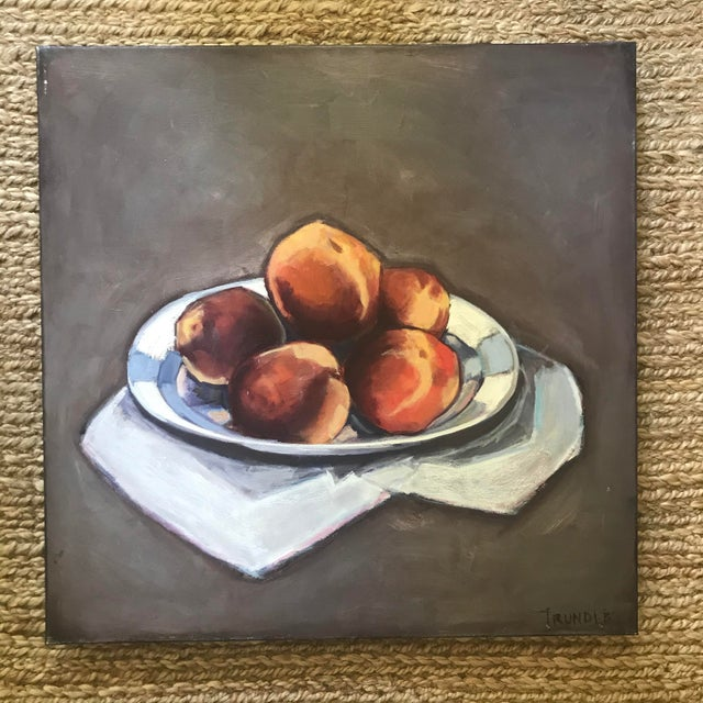 Simple, modern, still life. Oil on canvas, 24 x 24 x 1.5. Edges painted black , back wired, ready to hang. Please see...
