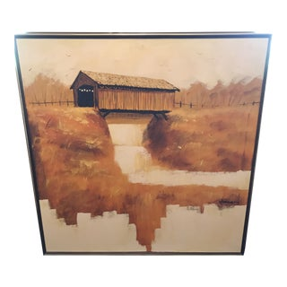 """Mid Century """"Covered Bridge"""" by Rodriguez Painting For Sale"""