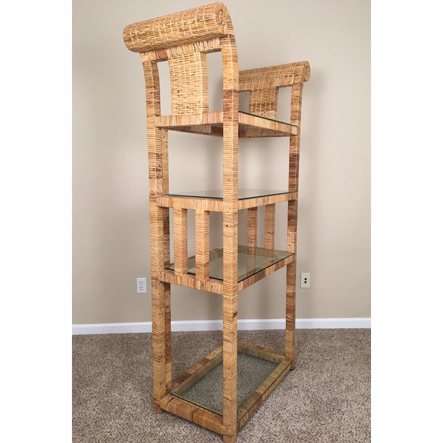 Billy Baldwin Style Lacquered Wrapped Rattan Etagere - Image 4 of 10